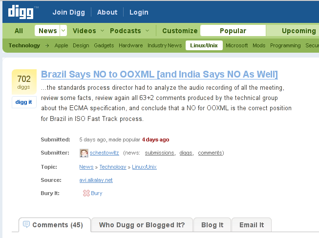 """OOXML: Brazil Says NO"" on Digg"