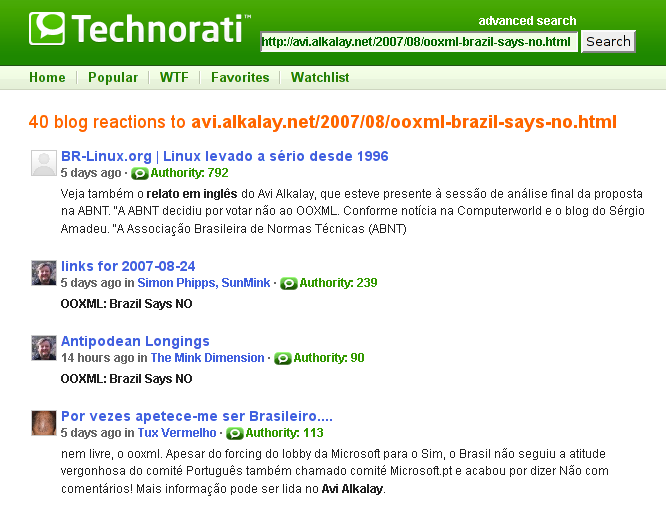 """OOXML: Brazil Says NO"" on Technorati"