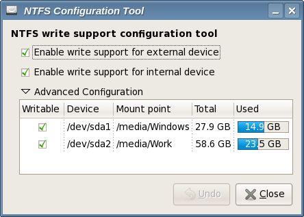 NTFS config tool screenshot