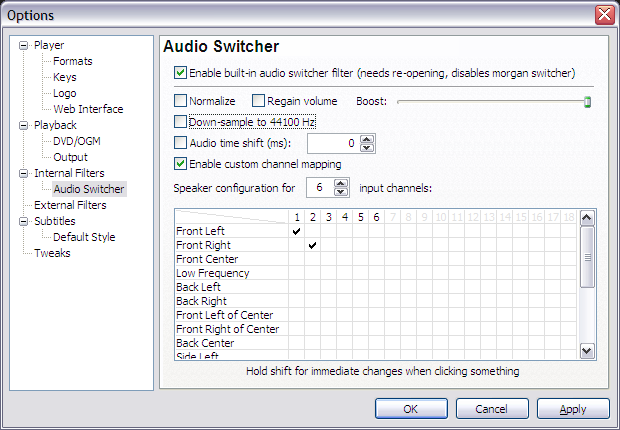 Configuring audio downsample on Media Player Classic