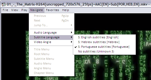 Choosing subtitles language