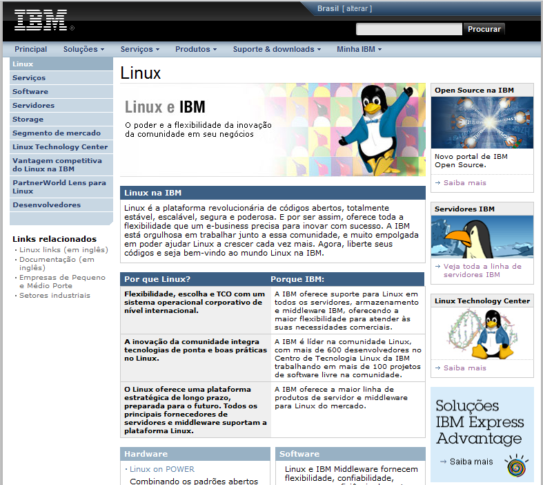 Antigo site IBM Linux