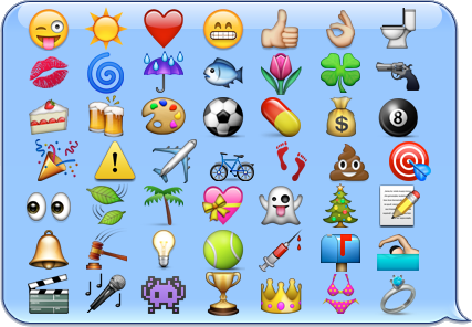 Emoji characters on an iOS chat baloon