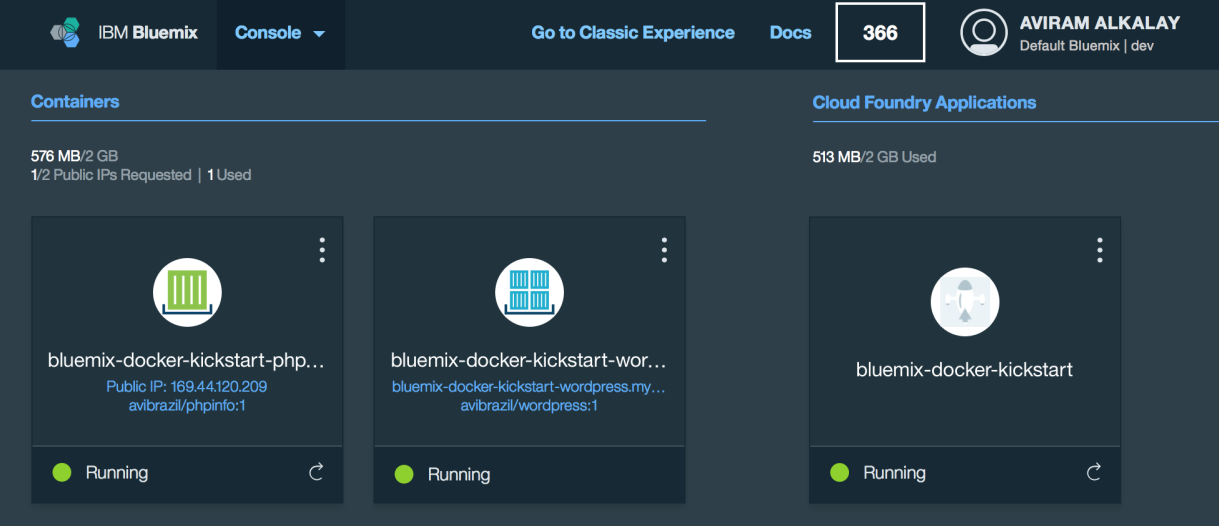 Bluemix dashboard with apps and containers