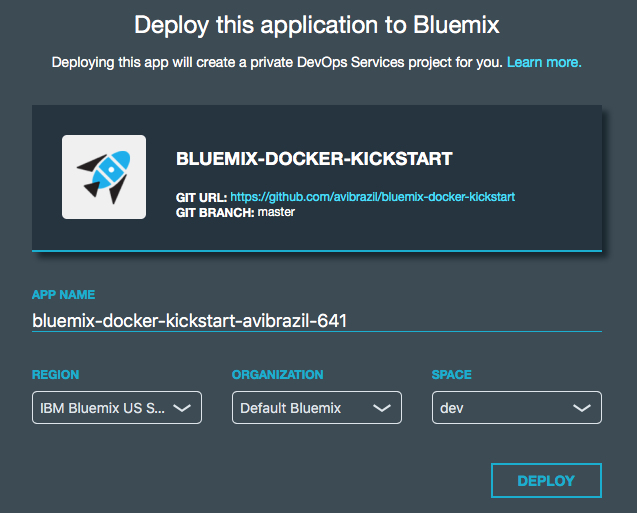 Deploy to Bluemix screen