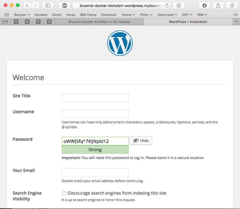 WordPress on Docker with Bluemix