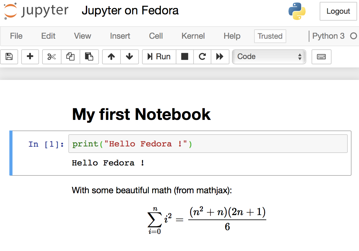 Jupyter Notebook on Fedora with MathJax and Python